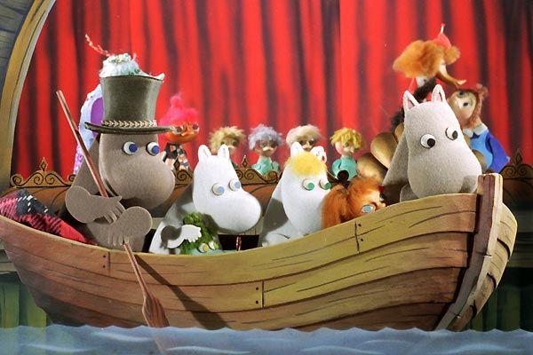 moomins dans un bateau